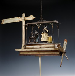 Whirligig with Woman Churning and Man Sawing