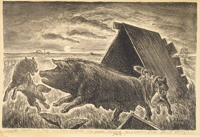Coyotes Stealing a Pig