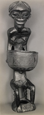 Mendicant figure with Bowl. Wood. Bangwa, French Cameroons, from the series African Sculpture