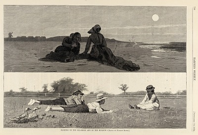 Flirting on the Sea-Shore and on the Meadow, from Harper's Weekly, September 19, 1874