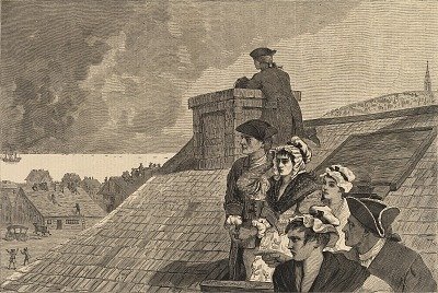 The Battle of Bunker Hill--Watching the Fight from Cobb's Hill in Boston, from Harper's Weekly, June 26, 1875