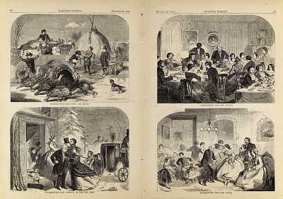 Thanksgiving Day--Ways and Means/Arrival at the Old Home/The Dinner/The Dance, from Harper's Weekly, November 27, 1858