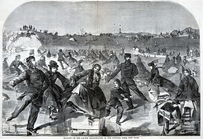 Skating on the Ladies' Skating Pond--Central Park, from Harper's Weekly, January 28, 1860