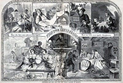 Thanksgiving Day, 1860, The Two Great Classes of Society, from Harper's Weekly, December 1, 1860