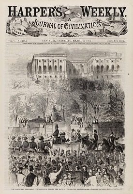 The Inaugural Procession at Washington Passing the Gate of the Capitol Grounds, from Harper's Weekly, March 16, 1861