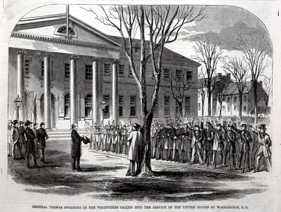 General Thomas Swearing in the Volunteers Called Into the Service of the United States at Washington, D.C., from Harper's Weekly, April 27, 1861
