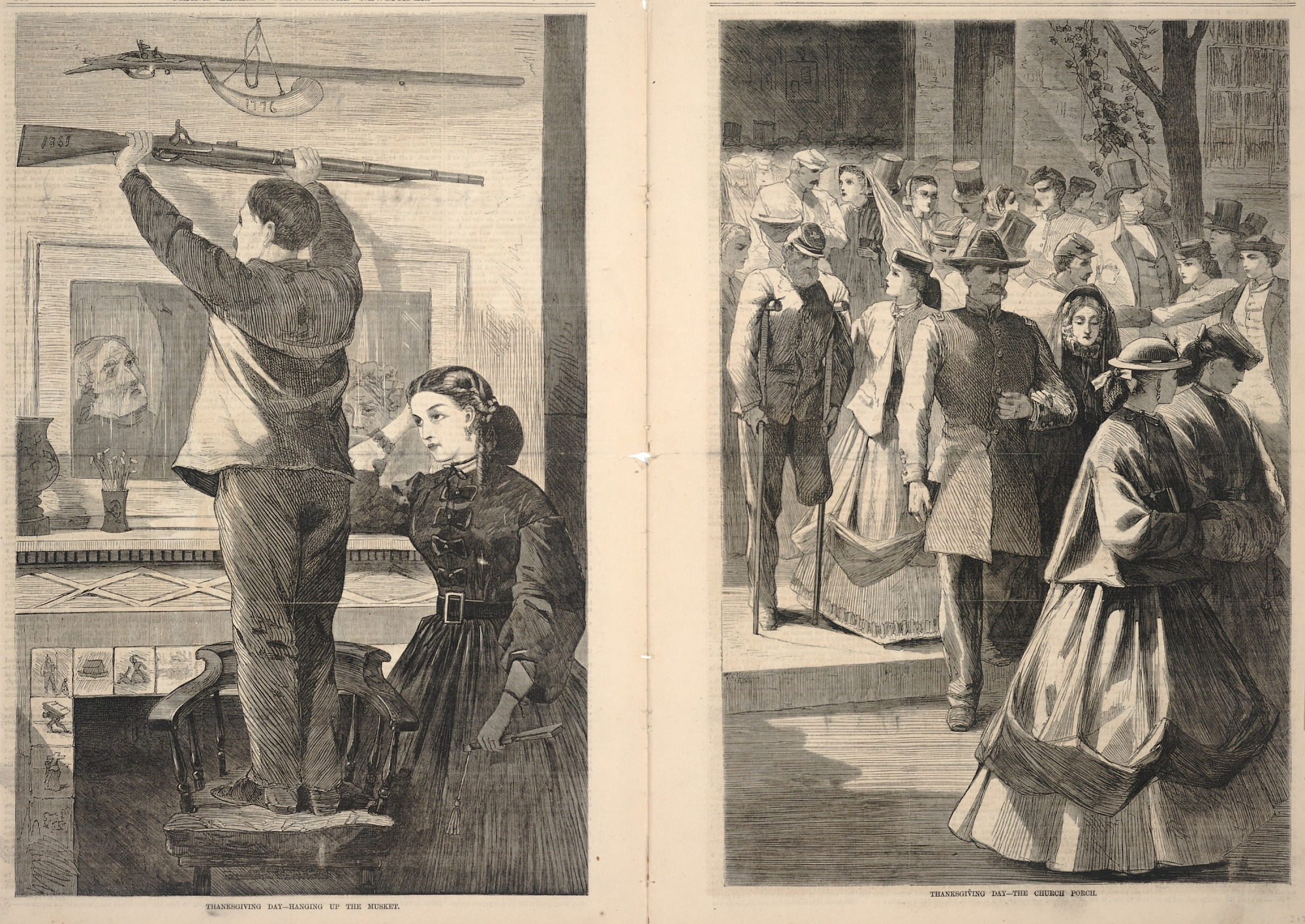 images for Thanksgiving Day--Hanging up the Musket/Thanksgiving Day--The Church Porch, from Frank Leslie's Illustrated Newspaper, December 23, 1865