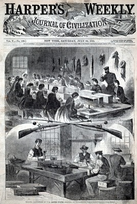 Filling Cartridges at the United States Arsenal at Watertown, Massachusetts, from Harper's Weekly, July 20, 1861