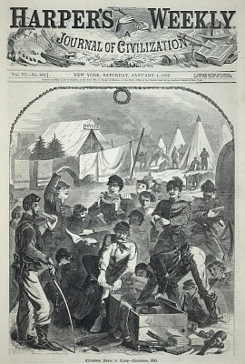 Christmas Boxes in Camp--Christmas, 1861, from Harper's Weekly, January 4, 1862