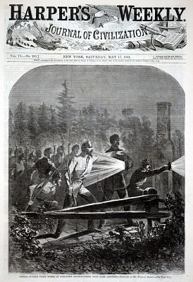 Rebels Outside Their Works at Yorktown Reconnoitring (sic) with Dark Lanterns, from Harper's Weekly, May 17, 1862