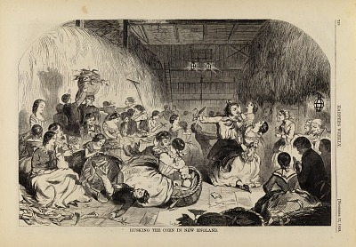 Husking the Corn in New England, from Harper's Weekly, November 13, 1858