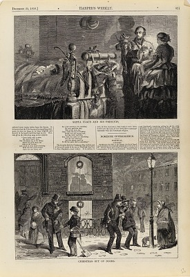 Santa Claus and His presents/Christmas Out of Doors, from Harper's Weekly, December 25, 1858, p. 821