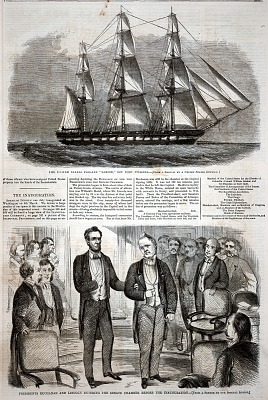 Presidents Buchanan and Lincoln Entering the Senate Chamber Before the Inauguration, from Harper's Weekly, March 16, 1861