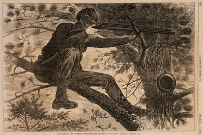 The Army of the Potomac--A Sharpshooter on Picket Duty, from Harper's Weekly, November 15, 1862