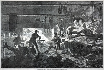 Winter-quarters in Camp--The inside of a Hut, from Harper's Weekly, January 24, 1863