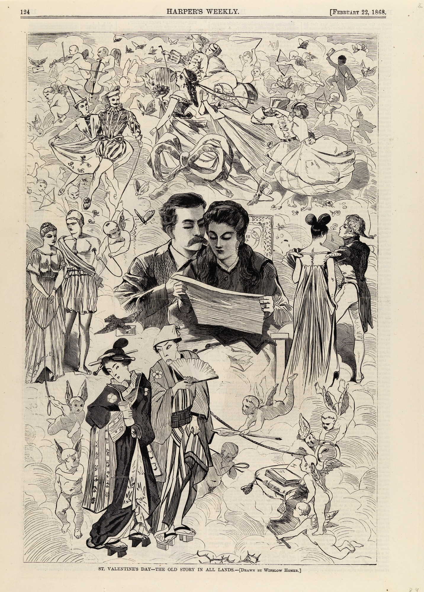 images for St. Valentine's Day--The Old Story in All Lands, from Harper's Weekly, February 22, 1868