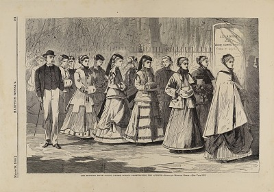 The Morning Walk--Young Ladies' School Promenading the Avenue, from Harper's Weekly, March 28, 1868