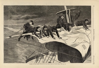 Winter at Sea--Taking in Sail off the Coast, from Harper's Weekly, January 16, 1869