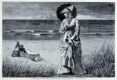 On the Beach--Two are Company, Three are None, from Harper's Weekly, August 17, 1872