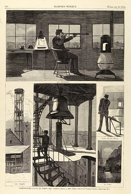 Watch-Tower, Corner of Spring and Varick Streets, New York, from Harper's Weekly, February 28, 1874