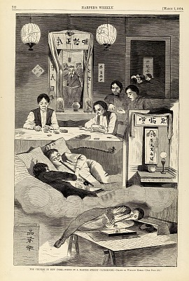The Chinese in New York--Scene in a Baxter Street Club-House, from Harper's Weekly, March 7, 1874