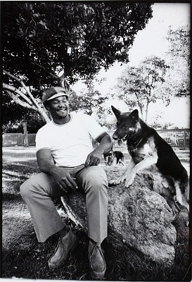 George Foreman with dog