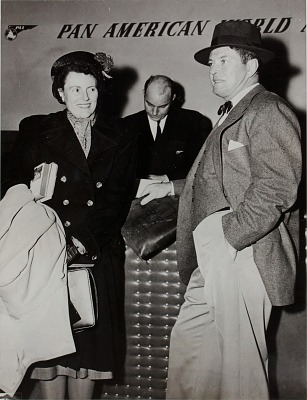 Former boxer Gene Tunney and wife Polly, La Guardia Field, New York
