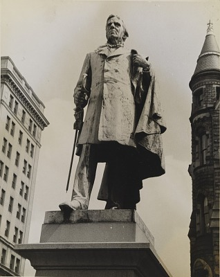 Untitled (Statue, Capitol Square with Old City Hall in Background)