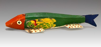 Green Fish Decoy with Clackers