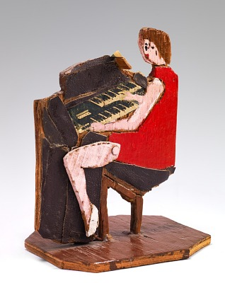 Woman in Red Dress at Piano
