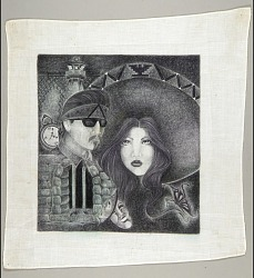 Couple with Woman Wearing Sombrero with UFW Symbol