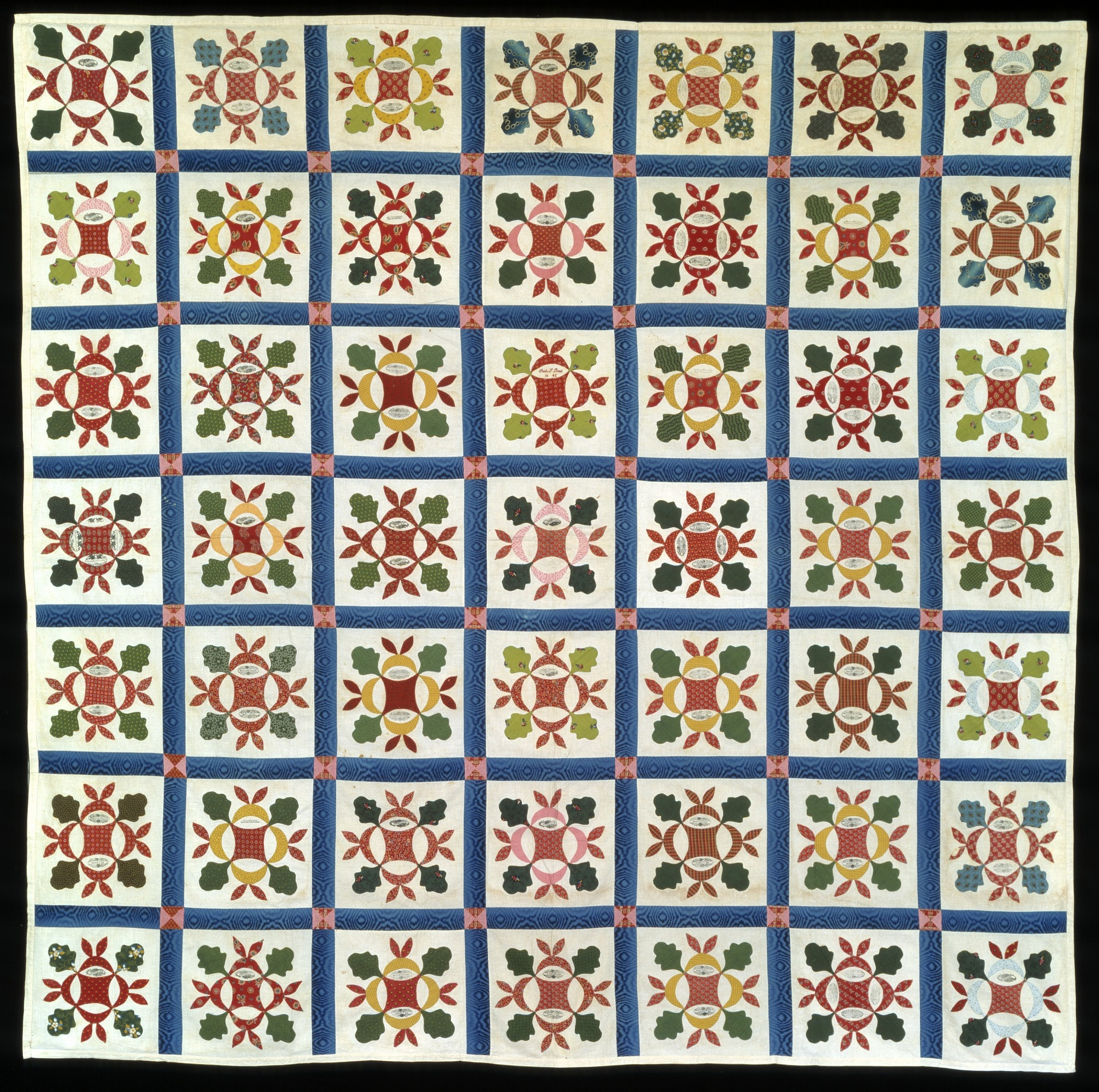 Pieced and appliqued Friendship Quilt top (Hickory Leaf Variation)