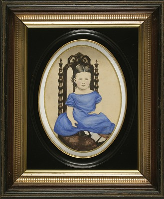 Young Girl in Plain Blue Dress, Carved Chair