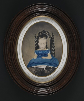 Young Child in Blue Dress with Gathered Bodice