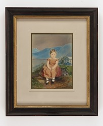 Young Girl Seated before Painted Mountain Landscape