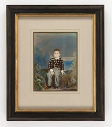 Young Boy Seated before Painted Mountain Landscape