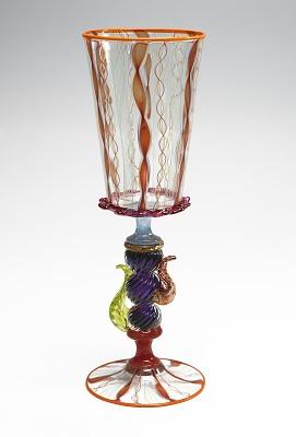 Tutti Frutti Goblet (swirl colored top; swirl colored base)