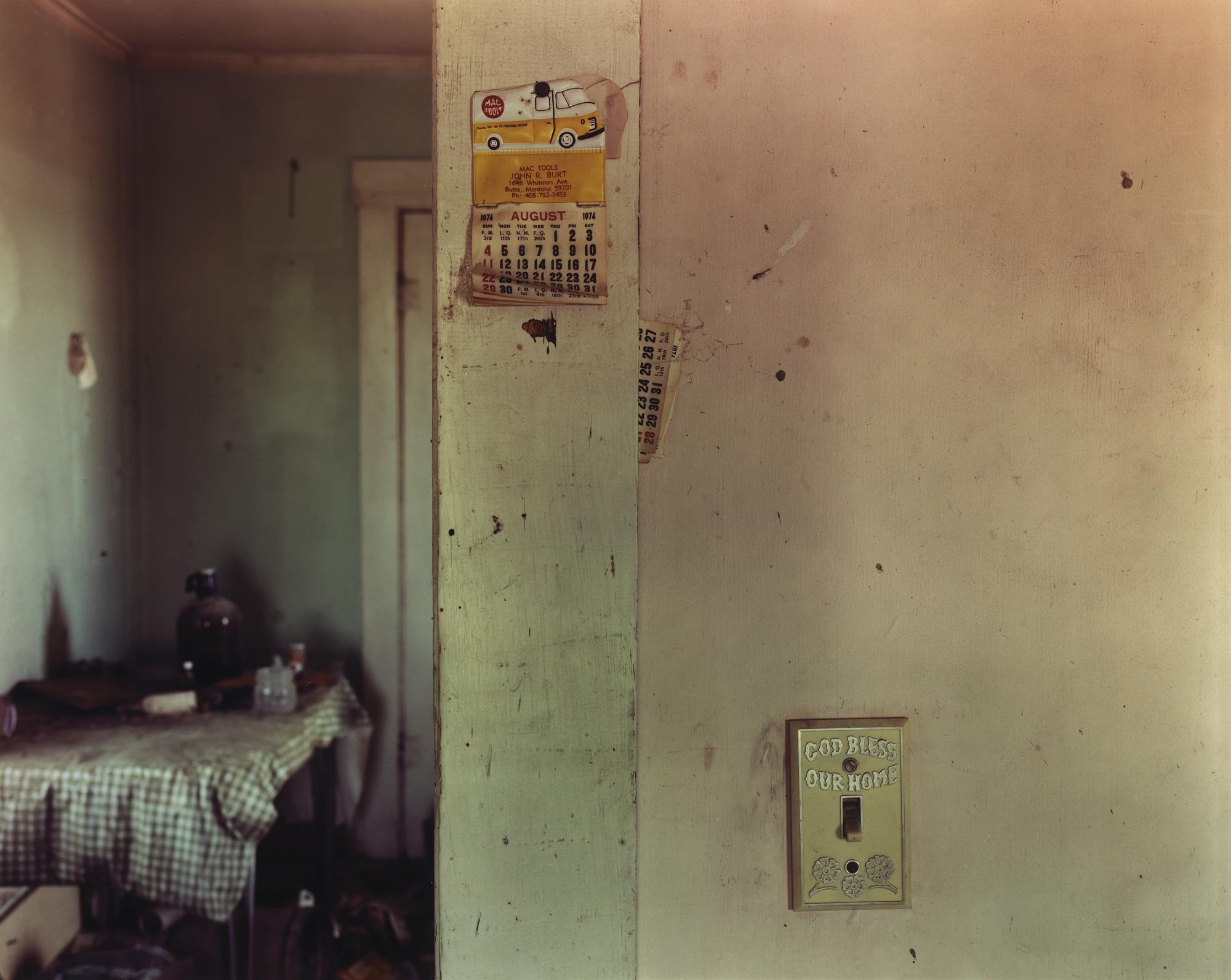 images for Calendar left on the living room wall in Ingomar, eastern Montana, June 22, 1998