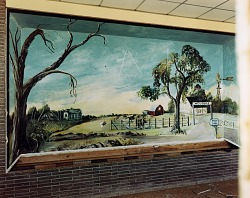 Mural of a homestead in a boys' school in Petitt, western Texas, March 14, 1994