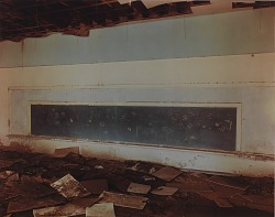 Blackboard with handprints in a classroom in Causey, eastern New Mexico, April 26, 1997