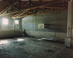 Gymnasium in a WPA-built school in Cedarvale, eastern New Mexico, December 2, 1991