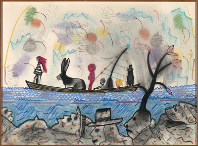 Figures and Rabbit in a Boat