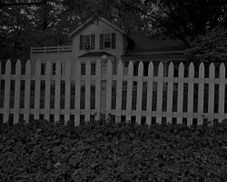 Untitled #1 (Picket Fence and Farmhouse) from the series Night Coming Tenderly, Black