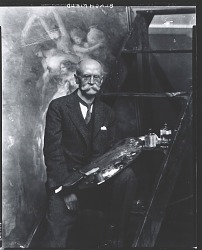 "Edwin Howland Blashfield in his studio, standing in front of his easel painting ""Rain,"" [photograph] / (photographed by Peter A. Juley & Son)"