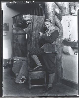 Nicolai Fechin in his studio, Taos, New Mexico [photograph] / (photographed by Peter A. Juley & Son)