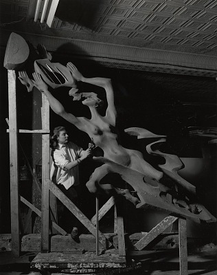 Gwen Lux in her studio [photograph] / (photographed by Peter A. Juley & Son)