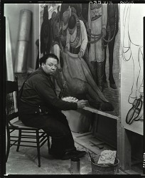 "Diego Rivera at work on ""Liberation of the Peon,"" New York [photograph] / (photographed by Peter A. Juley & Son)"