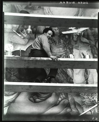 Diego Rivera at work on