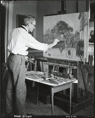 John Sloan at work in his studio [photograph] / (photographed by Peter A. Juley & Son)
