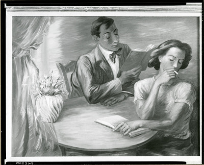 Young Couple Reading [painting] / (photographed by Peter A. Juley & Son)